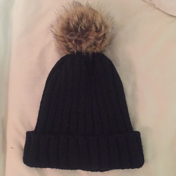 J. Crew Accessories - Black Beanie with Fur Ball Top 1b5acc8b6f8